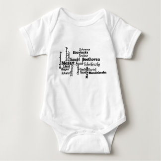 Classical Composers Word Cloud Baby Bodysuit