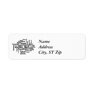 Classical Composers Word Cloud Return Address Label