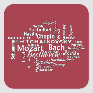 Classical Composers Word Cloud Square Sticker