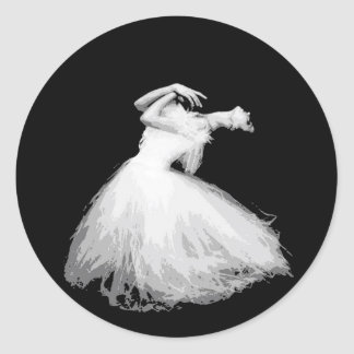 Classical dancer looks like it's flying classic round sticker