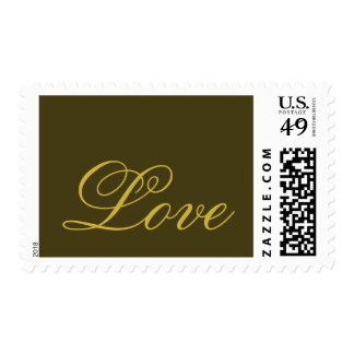 Classical Gold Calligraphic Love Wedding Postage