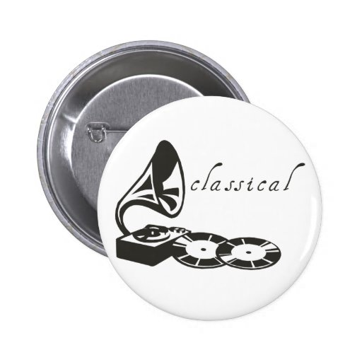 Classical Gramophone Pinback Buttons