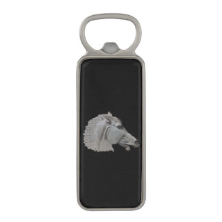 Classical Grecian White Horse's Head Equine Art Magnetic Bottle Opener