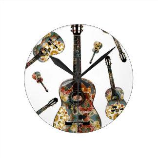 Classical guitar 13.jpg round clock