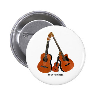 Classical Guitar Acoustic Bass and Ukulele Pinback Button