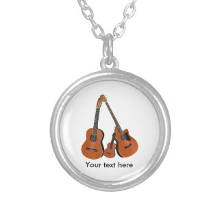 Classical Guitar Acoustic Bass and Ukulele Silver Plated Necklace