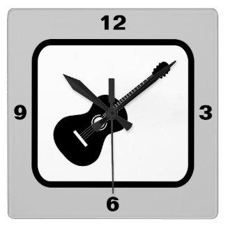 Classical Guitar Music Theme Square Wall Clock