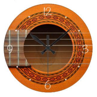 Classical guitar orange tan large clock