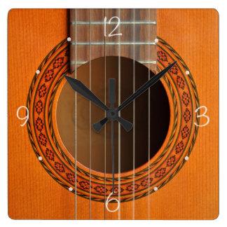 Classical guitar orange tan square wall clock