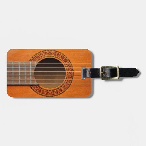 Classical guitar orange tan travel bag tag
