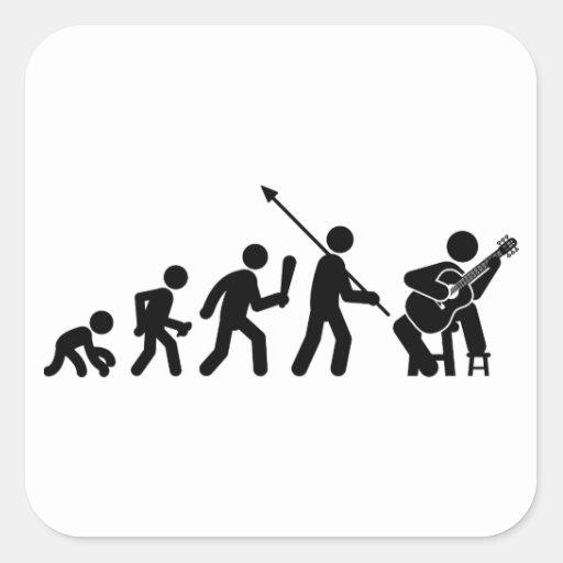Classical Guitar Square Stickers