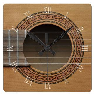Classical guitar v2 square wall clock