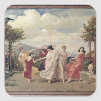 Classical Idyll (oil on canvas) Square Sticker