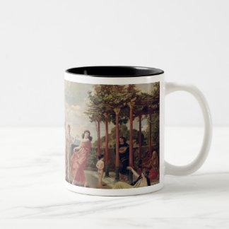 Classical Idyll (oil on canvas) Two-Tone Coffee Mug