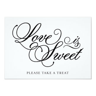 Classical | Love is Sweet Wedding Sign 5x7 Paper Invitation Card