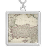 Classical Map of Rome Square Pendant Necklace