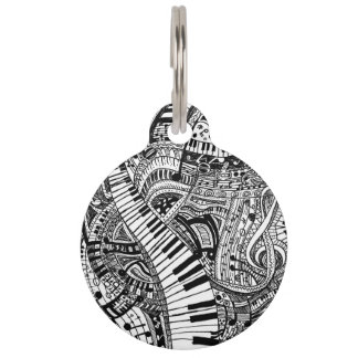 Classical music doodle with piano keyboard pet ID tags