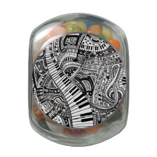 Classical music doodle with piano keyboard glass candy jar