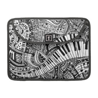 Classical music doodle with piano keyboard MacBook pro sleeve