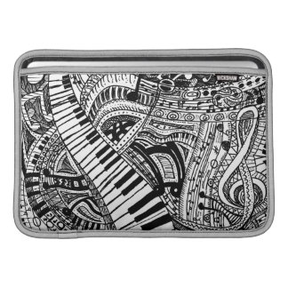 Classical music doodle with piano keyboard MacBook sleeve
