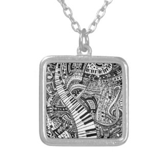 Classical music doodle with piano keyboard personalized necklace