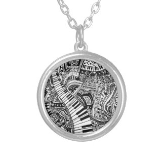 Classical music doodle with piano keyboard custom necklace