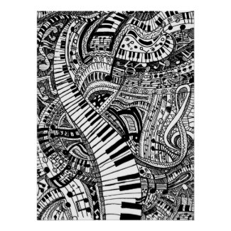 How good songs make me feel - Black and white Classical music flow doodle with musical notes treble clef piano keyboard keys creative art artwork poster