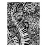 Classical music doodle with piano keyboard posters