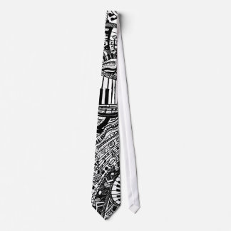 Classical music doodle with piano keyboard tie