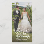 """Classical Overlay   Wedding Thank You Photo Card<br><div class=""""desc"""">Photographs provided courtesy of &#169;Blush Photography    For more colors and styles visit our shop!</div>"""