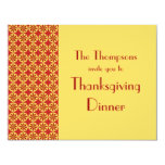 "Classical Pattern Thanksgiving Dinner Invitation 4.25"" X 5.5"" Invitation Card"