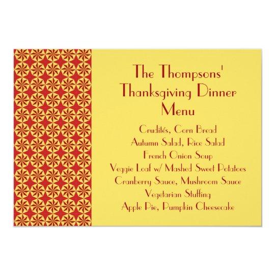 Classical Pattern (Veg) Thanksgiving Dinner Menu Card