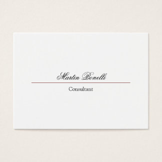 Classical Simple Plain Script White Business Card