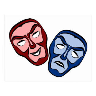 Classical Theater Face Masks Postcard