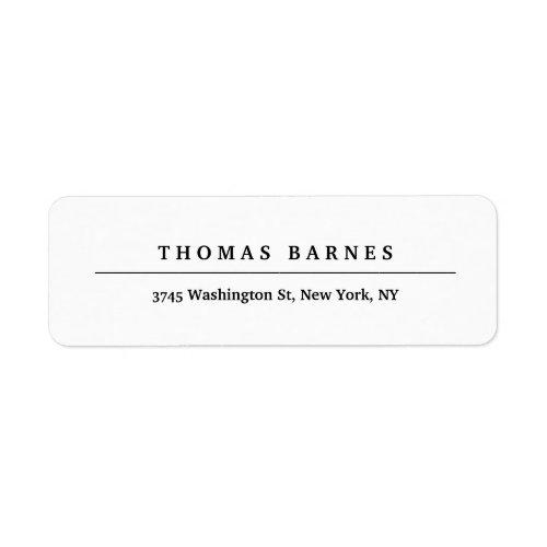 Classical White Minimalist Plain Elegant Label
