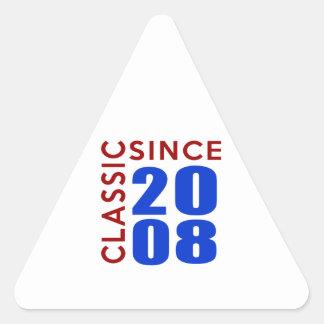 Classice Since 2008 Birthday Designs Triangle Sticker