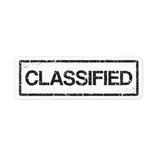 Classified black distressed label