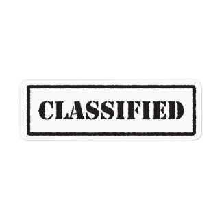 Classified black stamp label