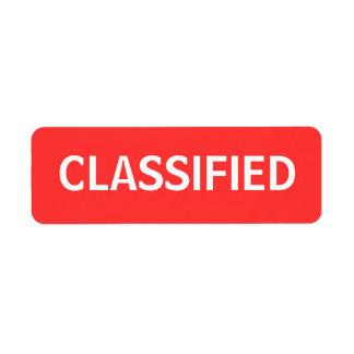 classified custom return address label