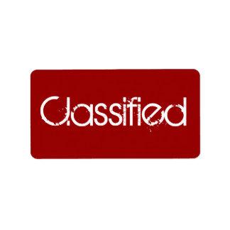 Classified - Secret Address Label