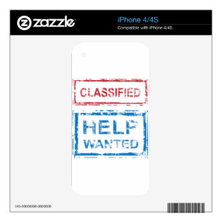 Classified Stamp Help Wanted Stamp Skins For iPhone 4S