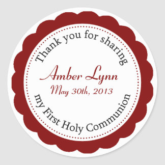 Classique Communion Cranberry Red Round Sticker