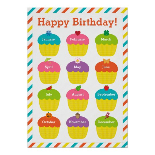 Classroom birthday chart poster for Birthday chart template for classroom