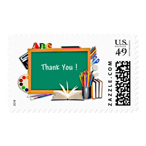 Classroom Chalkboard and Supplies Collage Thanks Stamp