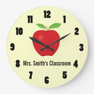 Classroom Clock with an Apple