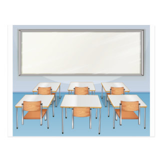 Classroom full of chairs and tables postcard