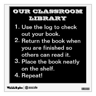 Classroom Library Procedure Wall Decal