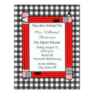 Classroom Open House: Red Pencils, Gray Gingham 4.25x5.5 Paper Invitation Card