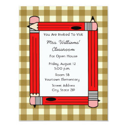 Classroom Open House - Tan Gingham Red Pencils Card