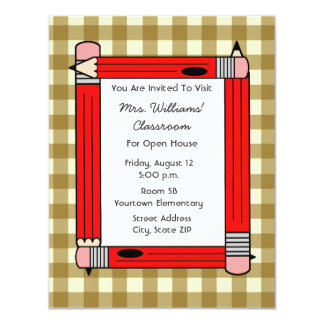 Classroom Open House - Tan Gingham Red Pencils 4.25x5.5 Paper Invitation Card
